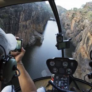 view from inside chopper Nitmiluk National Park
